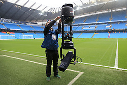 19th March 2017 - Premier League - Manchester City v Liverpool - A Sky Sports technican adjusts the SpiderCam overhead television (TV) camera before the match - Photo: Simon Stacpoole / Offside.
