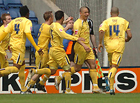 Photo: Leigh Quinnell.<br /> Leicester City v Preston North End. Coca Cola Championship. 15/04/2006. Prestons Jason Jarrett(second right) celebrates his goal.