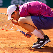 PARIS, FRANCE May 30.  Dominic Thiem of Austria ireacts during his five set fist round loss against Pablo Andujar of Spain in the first round of the Men's Singles competition on Court Philippe-Chatrier at the 2021 French Open Tennis Tournament at Roland Garros on May 30th 2021 in Paris, France. (Photo by Tim Clayton/Corbis via Getty Images)