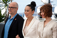 Santiago Loza, Naomi Kawase, Marie-Josee Croze, at the Cinefondation and Short Films Jury photo call at the 69th Cannes Film Festival Thursday 19th May 2016, Cannes, France. Photography: Doreen Kennedy