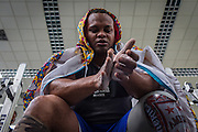 2016/06/07 – Bogotá, Colombia: Fábio Torres, 39, takes a break during a training session at the High Performance Center, Bogotá, 7th June, 2016.<br /> -<br /> Fábio is a retired Army Corporal. In 2008, he stepped on a landmine while on patrol in the Colombian jungle, losing his left leg. The accident became a big change in Fabio's life; he felt he had to learn everything again. Fábio found strength to continue his life through sport, and specially powerlifting, which he at first just practiced as hobby. Since 2009 he dedicates all his time to the sport, in the beginning just as a rehabilitation process and now as fulltime sportsman. He has had a successful year, in 2016; Fábio became World Champion of Powerlifting in Brazil after lifting 211kg. In the Rio 2016 Paralympics, he wants to bring a medal home. Regarding the violence in his country, he hopes that the peace process goes further. There are already too many victims, and he doesn't want people to go through what he has been through. He believes that the country need less violence and more sports, so they can get peace in Colombia. (Eduardo Leal)