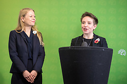 © Licensed to London News Pictures. 06/11/2019. Bristol, UK. General Election 2019; Left-right: SIAN BERRY co-leader of the Green Party, CARLA DENYER Green parliamentary candidate for Bristol West. The Green Party's national campaign event at We The Curious in Bristol Harbourside on the day of the official start of the general election campaign 2019. The Green Party are targeting the seat of Bristol West where the Labour MP Thangam Debbonaire has a large majority but where the Green candidate came first in the elections for the European Parliament. Photo credit: Simon Chapman/LNP.