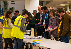 Pictured: Leith Walk Council By-Election. Edinburgh City Council, Edinburgh, Scotland, 11 April 2019. Pictured:The count begins with Dan McCroskrie, Scottish Conservative and Unionist and Jack Caldwell, Scottish Liberal Democrats candidates watching.  25,526 residents are registered to vote in one of the most densely populated areas in Scotland under the Single Transferable Vote (STV) system. This is the first time in Scotland that an STV by-election has been needed to fill two vacancies in the same ward, held as a result of the resignation of Councillor Marion Donaldson. The election fielded 11 candidates, including the first ever candidate for the For Britain Movement in Scotland, Paul Stirling, founded by former UKIP leadership candidate Anne Marie Waters in March 2018.<br /> <br /> Sally Anderson | EdinburghElitemedia.co.uk