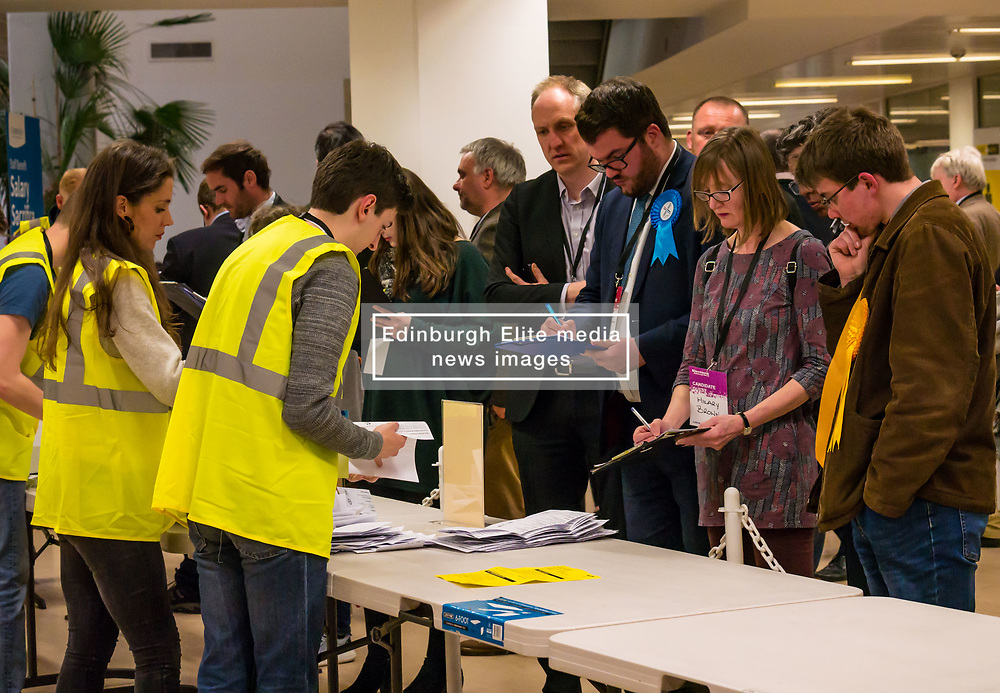 Pictured: Leith Walk Council By-Election. Edinburgh City Council, Edinburgh, Scotland, 11 April 2019. Pictured:The count begins with Dan McCroskrie, Scottish Conservative and Unionist and Jack Caldwell, Scottish Liberal Democrats candidates watching.  25,526 residents are registered to vote in one of the most densely populated areas in Scotland under the Single Transferable Vote (STV) system. This is the first time in Scotland that an STV by-election has been needed to fill two vacancies in the same ward, held as a result of the resignation of Councillor Marion Donaldson. The election fielded 11 candidates, including the first ever candidate for the For Britain Movement in Scotland, Paul Stirling, founded by former UKIP leadership candidate Anne Marie Waters in March 2018.<br /> <br /> Sally Anderson   EdinburghElitemedia.co.uk