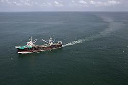 ATLANTIC OCEAN 18NOV14 - Fishing activities in the Atlantic Ocean off the coast of Guinea-Conakry. Stern trawler Medra, callsign DTBE3, seen fishing inside the 20 isobath area.<br /> <br /> jre/Photo by Jiri Rezac / Greenpeace<br /> <br /> © Jiri Rezac 2014