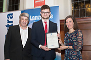 NO FEE PICTURES                                                                                                                                                                  24/1/20 Eoghan Corry, Travel Extra with Best Newcomer Journalist sponsored by CaminoWays Stephen Evans and Maria Golpe Varela, CaminoWays.com at the Travel Extra Travel Journalist of the Year Awards at Thomas Prior House, Ballsbridge at a ceremony to coincide with the annual Holiday World Show in the RDS Simmonscourt in Dublin. Picture: Arthur Carron
