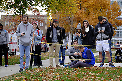 November 28, 2016 - Columbus, Ohio, USA - Police and students stand near the intersection of Woodruff and College on Ohio State's campus during an active shooter situation in Columbus, Ohio. (Credit Image: © Adam Cairns/TNS via ZUMA Wire)