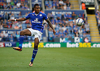 Leicester City's Liam Moore in action during todays match  <br /> <br /> (Photo by Jack Phillips/CameraSport)<br /> <br /> Football - The Football League Sky Bet Championship - Leicester City v Leeds United - Sunday 11th August 2013 - King Power Stadium - Leicester<br /> <br /> © CameraSport - 43 Linden Ave. Countesthorpe. Leicester. England. LE8 5PG - Tel: +44 (0) 116 277 4147 - admin@camerasport.com - www.camerasport.com