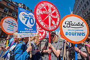 Supporters travel from all around the country, including this group from Bristol - #OurNHS70: free, for all, forever a protest and celebration march in honour of the 70 year history of the National Health Service. Organised by: The People's Assembly, Trades Union Congress, Unison, Unite, GMB, British Medical Association, Royal College of Nursing, Royal College of Midwives amongst others.