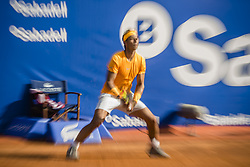 April 27, 2018 - Barcelona, Catalonia, Spain - RAFAEL NADAL (ESP) returns the ball to Martin Klizan (SVK) in their quarter final of the 'Barcelona Open Banc Sabadell' 2018. Nadal won 6:0, 7:5 (Credit Image: © Matthias Oesterle via ZUMA Wire)