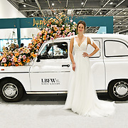 Exhibitor and Model showcases at London Bridal Fashion Week at London Excel on 25 March 2019, UK.