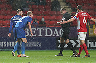 AFC Wimbledon midfielder Mitchell (Mitch) Pinnock (11) second yellow card and red card, sent off during the EFL Sky Bet League 1 match between Charlton Athletic and AFC Wimbledon at The Valley, London, England on 15 December 2018.