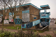 Derelict housing block, boarded up and covered in graffiti during the second national coronavirus lockdown on 28th November 2020 in Edmonton, London, United Kingdom. The new national lockdown is a huge blow to the economy and for individuals who were already struggling, as Covid-19 restrictions are put in place until 2nd December across England, with all non-essential businesses closed.