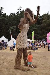 Latitude Festival, Henham Park, Suffolk, UK July 2019. Wicker badger in the kids area