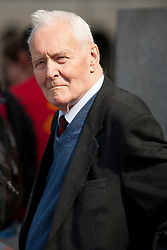 © licensed to London News Pictures. London, UK  01/05/11. Labour politician Tony Benn waits to address several thousand people taking part in a Mayday demonstration in central London. Please see special instructions for usage rates. Photo credit should read Matt Cetti-Roberts/LNP