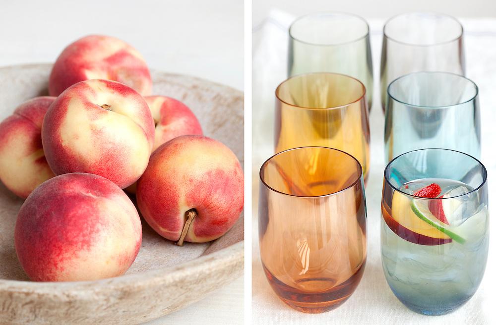 Peaches and Glasses for Peach Sangria. Williams-Sonoma