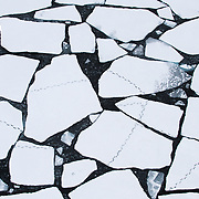 Polar bear tracks crossing broken ice in the Beaufort Sea. Arctic Ocean