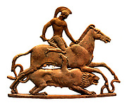 Bellerephon and Chimaera. Riding Pegasus, Bellerephon raises his sword over Chimaera. The beast takes the form of a lioness with a snake for a tail, and a goat emerging from the back. Such plaques as this were used to decorate wooden chests. Terracotta plaque made on Melos about 450 BC