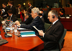 BRUSSELS, BELGIUM - MARCH-08-2005 - Hans Eichel , Finance Minister of Germany, attends the ECOFIN conference, a meeting of  European Union finance and economic ministers, in Brussels.