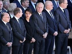 Bernard Cazeneuve, Jean-Jacques Urvoas, Najat Vallaud-Belkacem, Jean-Marc Ayrault, Serge Telle and HSH Prince Albert II of Monaco attending the National Ceremony for the 86 victims of Nice terror attack on last 14th July 2016 at the Colline du Château in Nice, southern France, on october 15, 2016. Ministers and politicians in front of about 2000 people including the victims families and rescue forces participated ceremony. Photo by Pierre Rousseau/CIT'images/ABACAPRESS.COM