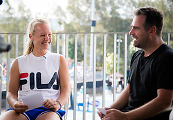 January 8, 2019 - Sidney, AUSTRALIA - Kiki Bertens of the Netherlands interviews her coach Raemon Sluiter at the 2019 Sydney International WTA Premier tennis tournament (Credit Image: © AFP7 via ZUMA Wire)