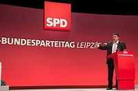 16 NOV 2013, LEIPZIG/GERMANY:<br /> Sigmar Gabriel, SPD Parteivorsitzender, haelt eine Rede waehrend der Debatte zum Leitantrag Kommunalpolitik, SPD Bundesparteitag, Leipziger Messe<br /> IMAGE: 20131116-01-066<br /> KEYWORDS: Party Congress, Parteitag, speech