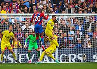 Football - 2021/2022  Premier League - Crystal Palace vs Brentford - Selhurst Park  - Saturday 21st August 2021.<br /> <br /> Christian Benteke (Crystal Palace) rises to head the ball at the Crystal Palace goal at Selhurst Park.<br /> <br /> COLORSPORT/DANIEL BEARHAM