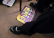 © Licensed to London News Pictures. 26/04/2012. London, UK . A campaign poster on the floor of the conference. The UK Independence Party (UKIP) local election campaign launch at St Stephen's Club, Central London. Photo credit : Stephen Simpson/LNP