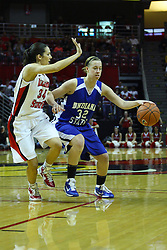 05 February 2011: Andrea Rademacher works against Hannah Spanich during an NCAA Women's basketball game between the Indiana State Sycamores and the Illinois State Redbirds at Redbird Arena in Normal Illinois.