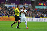 Jose Canas of Swansea city has words with referee Phil Dowd which leads to him getting a booking. Barclays Premier league, Swansea city v Manchester City at the Liberty Stadium in Swansea,  South Wales on  New years day Wed 1st Jan 2014 <br /> pic by Andrew Orchard, Andrew Orchard sports photography.