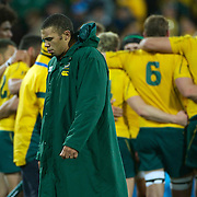 Bryan Habana, South Africa, leaves the field after his teams loss to Australia during the South Africa V Australia Quarter Final match at the IRB Rugby World Cup tournament. Wellington Regional Stadium, Wellington, New Zealand, 9th October 2011. Photo Tim Clayton...