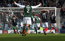 Falkirk's keeper Michael McGovern can't stop Hibernian's Eoin Doyle's third goal..Hibernian 4 v 3 Falkirk, William Hill Scottish Cup Semi Final, Hampden Park..©Michael Schofield..