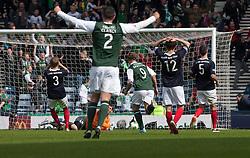 Falkirk's keeper Michael McGovern can't stop Hibernian's Eoin Doyle's third goal..Hibernian 4 v 3 Falkirk, William Hill Scottish Cup Semi Final, Hampden Park..©Michael Schofield..
