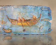 Roman Fresco with a boat decorated for a festival and marine life from the second quarter of the first century AD. (mosaico fauna marina da porto fluviale di san paolo), museo nazionale romano ( National Roman Museum), Rome, Italy. inv. 121462 .   Against an art background.<br /> The frescoes depict boats decorated as boats which went along the Tiber on festival days; their shape appears to be the caudicariae boats, used to transport merchandise. In the fresco fragment exhibited here (Ambiente E) the boat on the left depicts probably the group of 'side Serapide and Demetra on the stern, whereas the one on the right presents a crowned character on the bow and, on the stern, a feminine figure fluctuating in the air. Between the two boats, a young boy (a cupid or Palaimon-Portunus) rides a dolphin. All around are depicted several fish incredibly casting their shadows on the sea. The ichthyic fauna, lifeless as in still life decoration, is detailed as in a scientific catalogue. For the most part the represented species live next to the coast or were bred by the Romans in the piscinae salsac or in ponds. It is possible to recognize the rock mullet (mullus sunnuletus) and the mud one (mullus barbatu4 the scorpion fish (scorpoena) the dentex (dentex dentex), the aguglia (belone agus) the dolphin (delphinus delphis) and the golden mullet (lire curate). .<br /> <br /> If you prefer to buy from our ALAMY PHOTO LIBRARY  Collection visit : https://www.alamy.com/portfolio/paul-williams-funkystock/national-roman-museum-rome-fresco.html<br /> <br /> Visit our ROMAN ART & HISTORIC SITES PHOTO COLLECTIONS for more photos to download or buy as wall art prints https://funkystock.photoshelter.com/gallery-collection/The-Romans-Art-Artefacts-Antiquities-Historic-Sites-Pictures-Images/C0000r2uLJJo9_s0