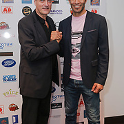 London,England,UK. 14th May 2017. David James,Lance Haggith CEO of Hoops Aid attends the BBL Play-Off Finals also fundraising for Hoops Aid 2017 but also a major fundraising opportunity for the Sports Traider Charity at London's O2 Arena, UK. by See Li