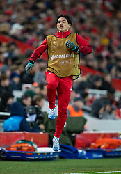 LIVERPOOL, ENGLAND - Wednesday, March 11, 2020: Liverpool's Takumi Minamino warms-up during the UEFA Champions League Round of 16 2nd Leg match between Liverpool FC and Club Atlético de Madrid at Anfield. (Pic by David Rawcliffe/Propaganda)