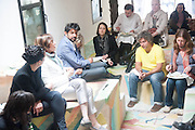 Bloomberg Venice Conversations, Siddhartha Mukherjee, Rirkrit Tiravanija and Tomas Vu Daniel cook lunch for Sarah Sze. Palazzo Peckham. Venice. Venice Bienalle. 31 May 2013