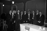 03-04/03/1964<br /> 03/03-04/1964<br /> 03-04 March 1964<br /> B.I.M. Fish Cookery Competition, Munster final, winners at the Metropole Hotel, Cork. The competition was held at the School of Commerce Cork. Photo Shows: Cork Fishmerchants who attended the Presentation of Awards were (l-r): W. Walshe; J.J. Cashell and F. McGrath (M. & P. Hanlon); Seamus F. Quinn (Cork); M. & E. Sheehan, J. & J. Sheehan; Haulie O'Driscoll (K.P. Love & Sons); Charles Quinn; W.A. Williams; T. Jones (Sec.) Cork City and Co. Retail Fish Traders Assoc. and W.D. Kidney.