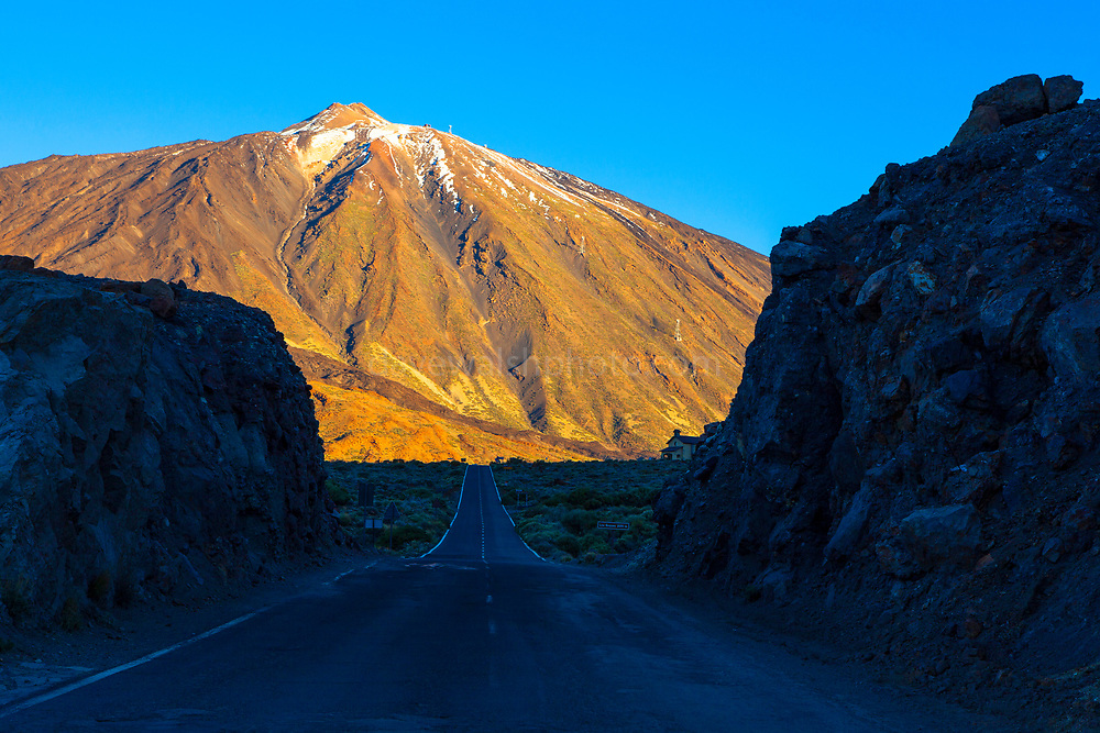 TF1 road towards the peak of Teide National Park, Parque nacional del Teide. The volcanic Mount Teide, or Pico del Teide, Tenerife, Canary Islands - at 3,718 high, it's the third highest volcano in the world after Hawaii, rising 7,500m from the ocean floor.