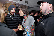 BANDMEMBERS OF FIGHTSTAR AND   Bring Me The Horizon AND BAND SECURITY MAN, Kerrang Awards 2009. Whitbread Brewery. Chiswell st. London. 3 August 2009. *** Local Caption *** -DO NOT ARCHIVE-© Copyright Photograph by Dafydd Jones. 248 Clapham Rd. London SW9 0PZ. Tel 0207 820 0771. www.dafjones.com.<br /> BANDMEMBERS OF FIGHTSTAR AND   Bring Me The Horizon AND BAND SECURITY MAN, Kerrang Awards 2009. Whitbread Brewery. Chiswell st. London. 3 August 2009.