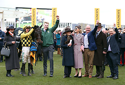 Paul Townend with horse Al Boum Photo after victory at the Magners Cheltenham Gold Cup Chase during Gold Cup Day of the 2019 Cheltenham Festival at Cheltenham Racecourse.