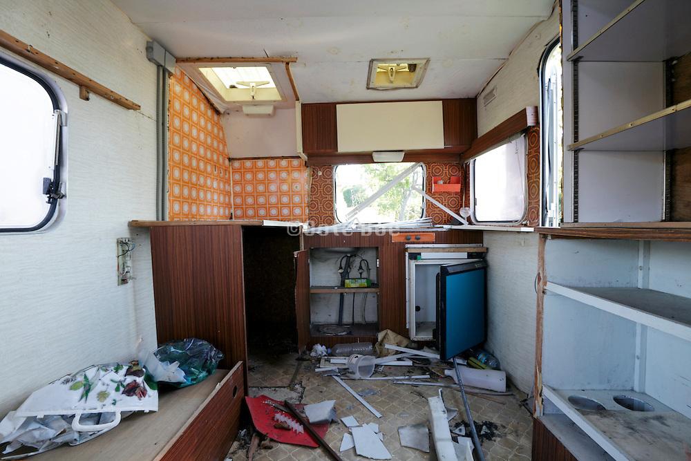 inside of a damaged caravan
