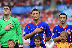 Goalkeeper of Croatia Stipe Pletikosa, Robert Kovac and Danijel Pranjic before  the UEFA EURO 2008 Group B soccer match between Austria and Croatia at Ernst-Happel Stadium, on June 8,2008, in Vienna, Austria.  (Photo by Vid Ponikvar / Sportal Images)