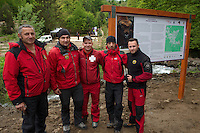 Mountain rescue team, at the release of European bison, Bison bonasus, in the Tarcu mountains nature reserve, Natura 2000 area, Southern Carpathians, Romania. The release was actioned by Rewilding Europe and WWF Romania in May 2014.