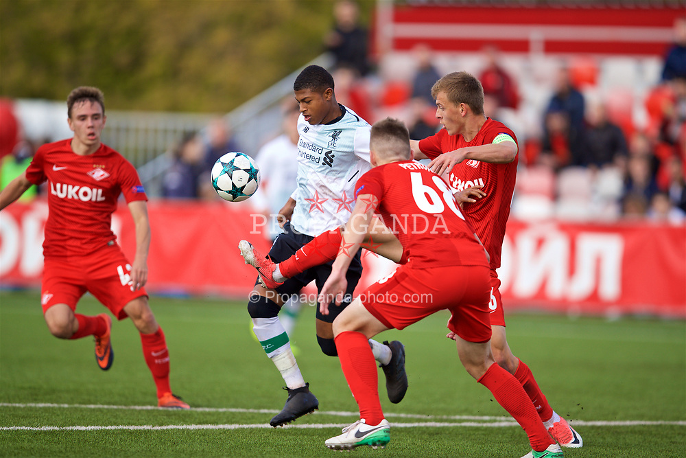 MOSCOW, RUSSIA - Tuesday, September 26, 2017: Liverpool's Rhian Brewster during the UEFA Youth League Group E match between Liverpool and Spartak Moscow FC at the Spartak Academy. (Pic by David Rawcliffe/Propaganda)