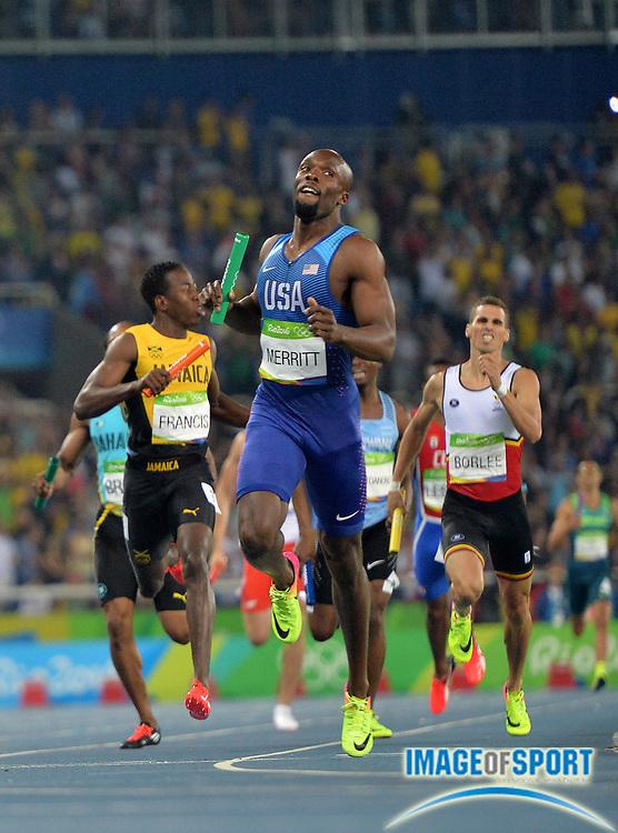 Aug 20, 2016; Rio de Janeiro, Brazil; LaShawn Merritt runs the anchor leg on the United States 4 x 400m relay that won in 2:57.30 during the 2016 Rio Olympics at Estadio Olimpico Joao Havelange. <br /> <br /> *
