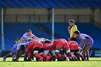 Rugby Union - 2019 / 2020 Heineken Cup - Semi-final - Exeter Chiefs vs Toulouse<br /> <br /> Referee Andrew Brace sets the scrum, at Sandy Park.<br /> <br /> COLORSPORT/ASHLEY WESTERN