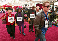 2/26/05-HOLLYWOOD- Last minute preparations for the 77th Annual Academy Awards were in full swing in Hollywood Saturday. Celebrity stand-ins are escorted inside the Kodak Theatre for rehearsals.  David Sprague/Daily News