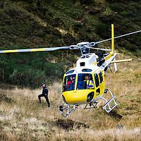 Spain, Lagos de Covadonga, 08-09-2014.<br /> Cycling La Vuelta'14.<br /> Stage 16 from San Martin del Rey Aurelio to La Farrapona, 160,5 km.<br /> Alberto Contador, stage winner  and leader of the general classification of the Vuelta, leavers the finish spot on La Farrapona by helicopter.<br /> Photo: Klaas Jan van der Weij