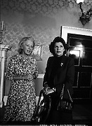 1983-04-07.7th April 1983.07-04-1983.04-07-83..During UN Secretary General's visit to to Áras an Uachtaráin his wife meets with the wife of The Iish President...Fom Left:..Maeve Hillery .Marcela de Cuellar..